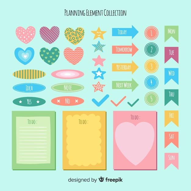 Conjunto moderno de elementos de organización coloridos vector gratuito