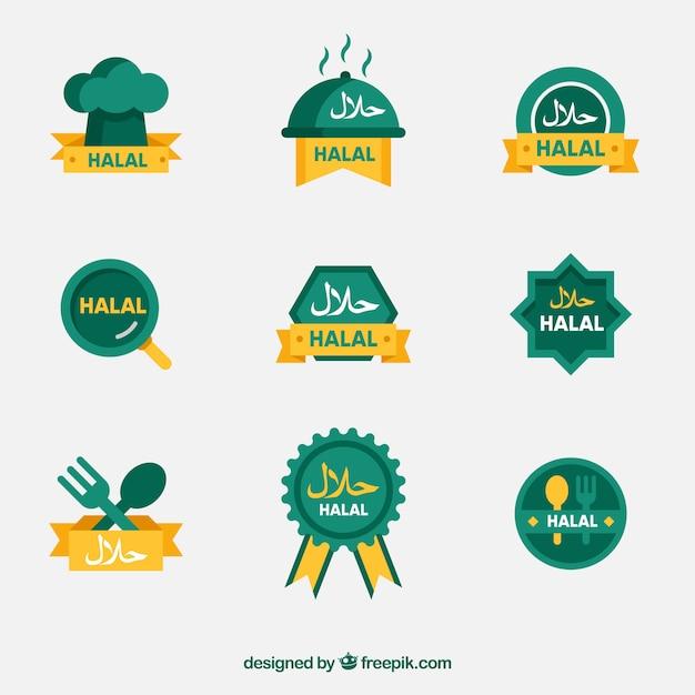 Conjunto moderno de etiquetas de comida halal con diseño plano vector gratuito