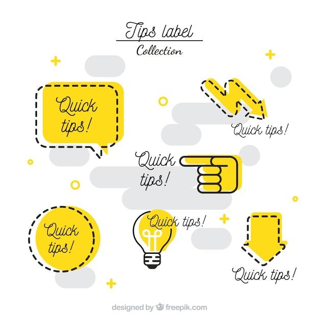 Conjunto moderno de etiquetas de consejos con diseño plano vector gratuito
