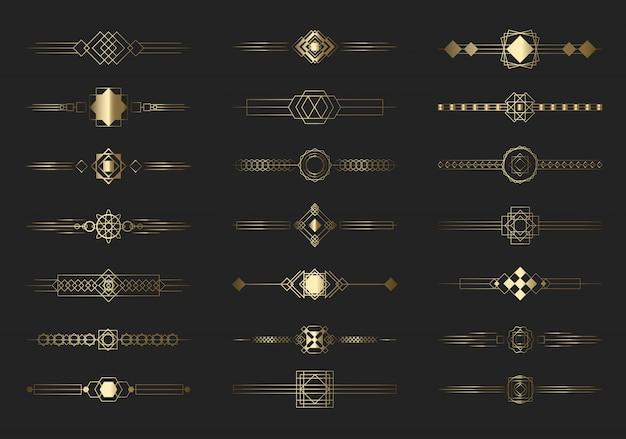 Conjunto moderno de líneas divisorias doradas vector gratuito