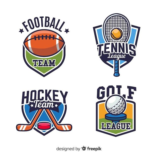 Conjunto moderno de logos abstractos de deportes vector gratuito