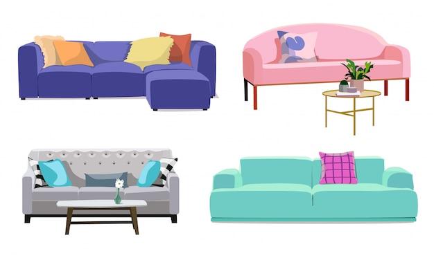 Conjunto de modernos sofás suaves de colores con tapicería Vector Premium