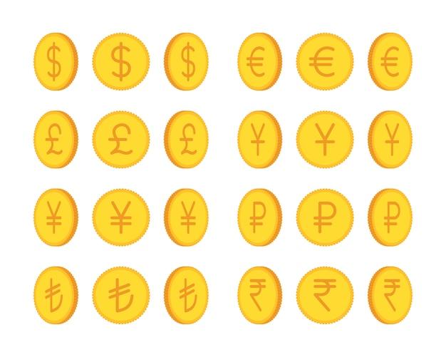Conjunto de monedas de oro, moneda internacional Vector Premium