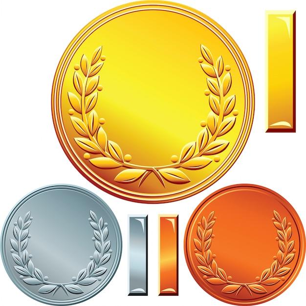Conjunto de monedas de oro, plata y bronce Vector Premium