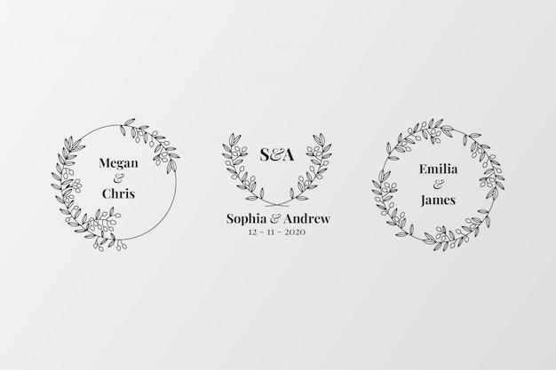Conjunto de monogramas de boda elegante Vector Premium