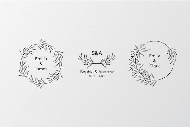 Conjunto de monogramas de boda elegantes, creador de logotipo inicial Vector Premium