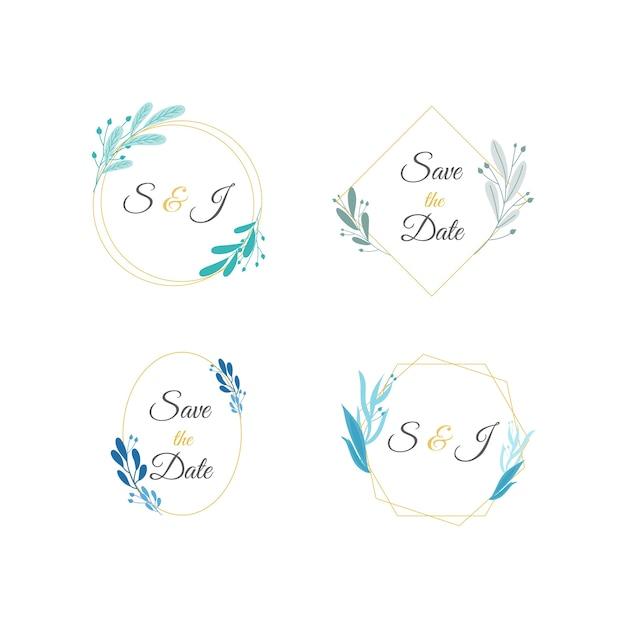 Conjunto de monogramas de boda minimalista en colores pastel vector gratuito