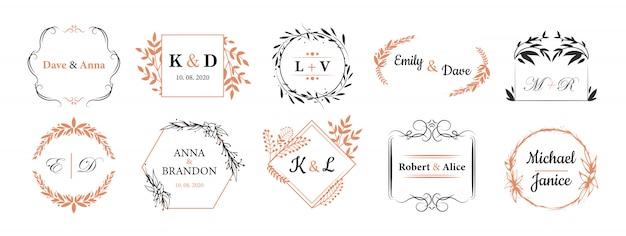 Conjunto de monogramas de boda vector gratuito