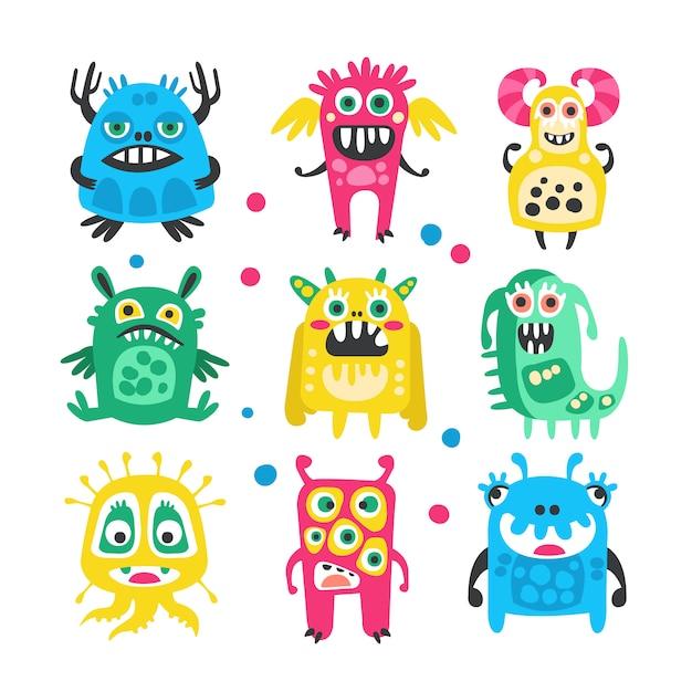 Conjunto de monstruos, extraterrestres y bacterias divertidos dibujos animados lindo. Vector Premium