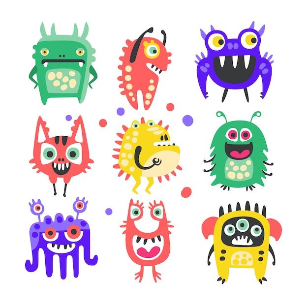 Conjunto de monstruos y extraterrestres divertidos dibujos animados amigable. Vector Premium