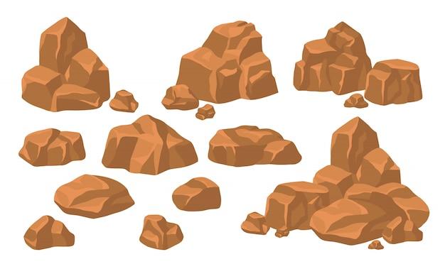 Conjunto de montones de piedras de roca vector gratuito