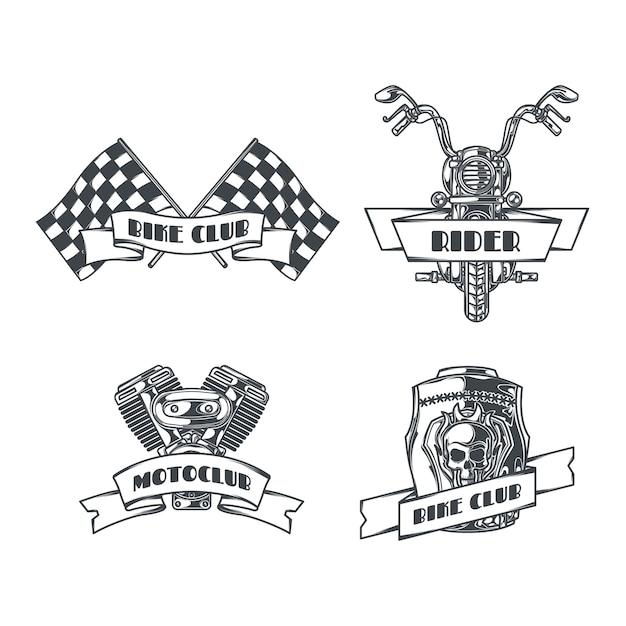 Conjunto de motoclub de emblemas monocromos aislados con texto editable e imágenes de cadenas, ruedas y casco vector gratuito