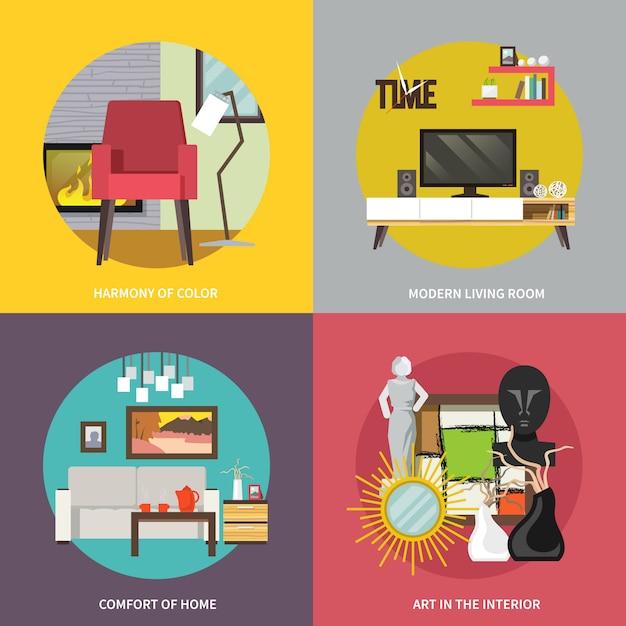 Conjunto de muebles de sala vector gratuito