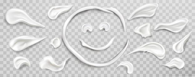 Conjunto de muestras de manchas de crema blanca. producto cosmético vector gratuito