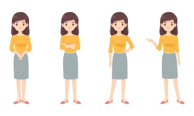 Conjunto de mujer inteligente en camisa amarilla Vector Premium