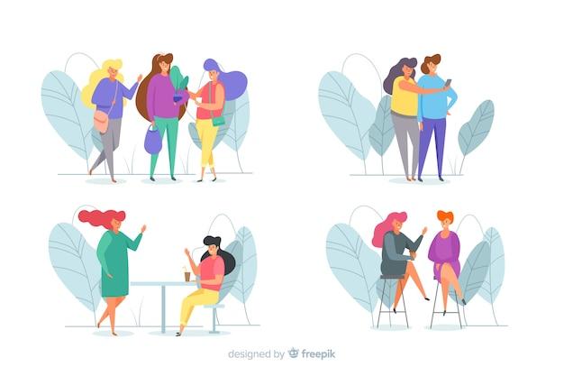 Conjunto de mujer joven pasar tiempo juntos vector gratuito