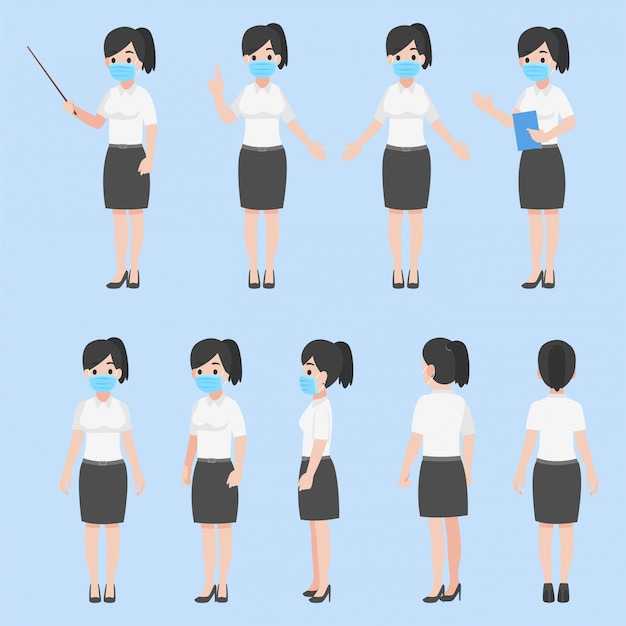 Conjunto de mujer maestra en nueva vida normal con una mascarilla. diseño de personajes en varias acciones concepto de atención médica plana de dibujos animados. Vector Premium