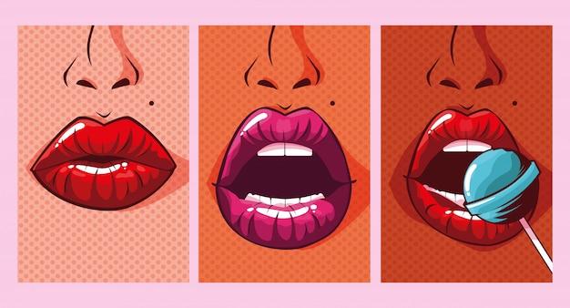 Conjunto de mujer sexy bocas estilo pop art Vector Premium