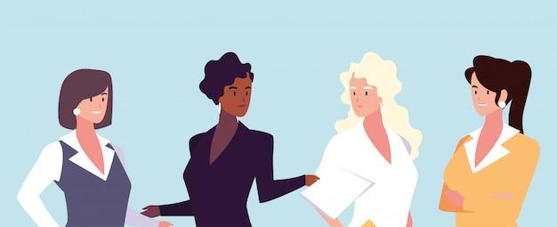 Conjunto de mujeres empresarias con diferentes puntos de vista, poses y gestos. Vector Premium