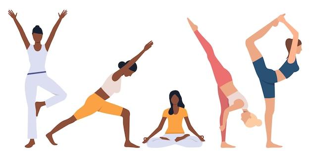 Conjunto de mujeres flexibles practicando yoga. vector gratuito