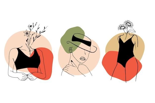 Conjunto de mujeres en línea elegante estilo de arte vector gratuito