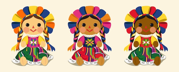 Conjunto de muñeca maria tradicional mexicana Vector Premium