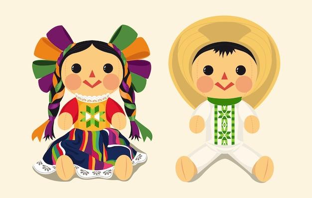 Conjunto de muñeca de trapo tradicional mexicana Vector Premium