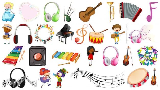 Conjunto musical de personas y objetos. vector gratuito