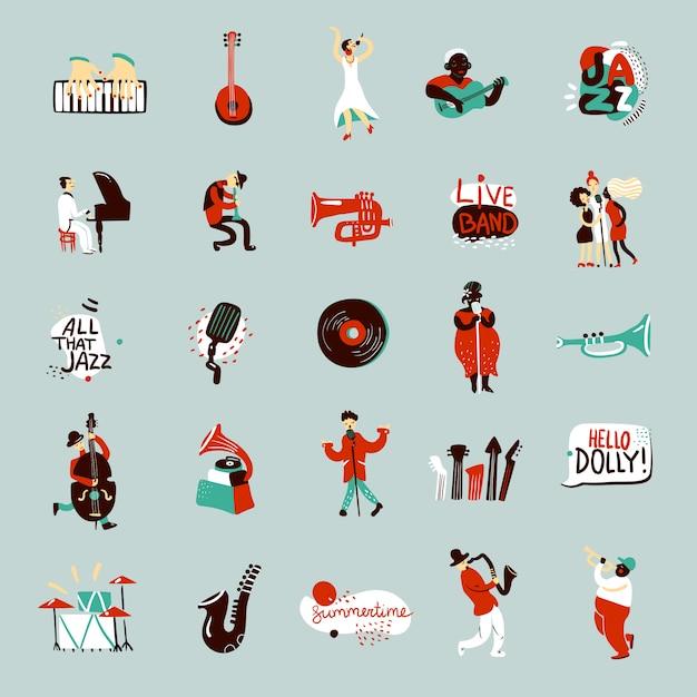 Conjunto de músicos de jazz vector gratuito