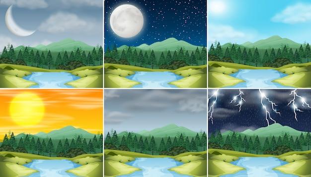 Conjunto de la naturaleza del paisaje diferente clima Vector Premium