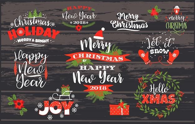 Conjunto de navidad y feliz año nuevo letras diseños. Vector Premium