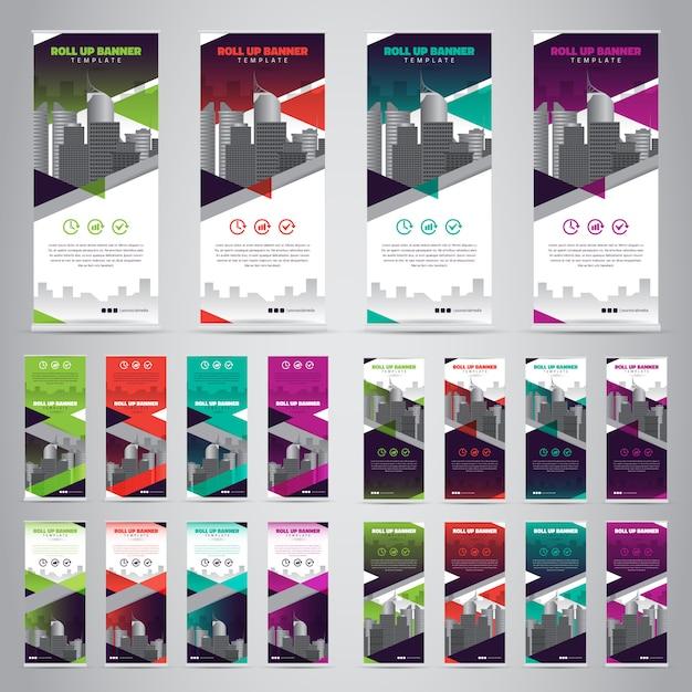 Conjunto de negocios roll up banners Vector Premium