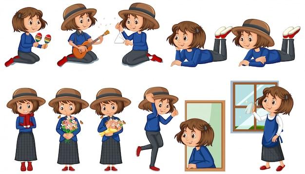 Conjunto de niña feliz haciendo diferentes actividades vector gratuito
