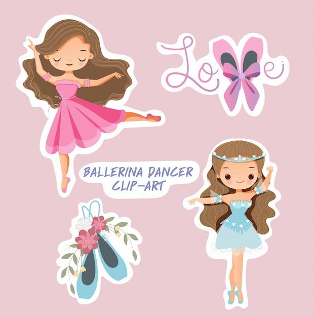 Conjunto de niña linda bailarina bailarina Vector Premium