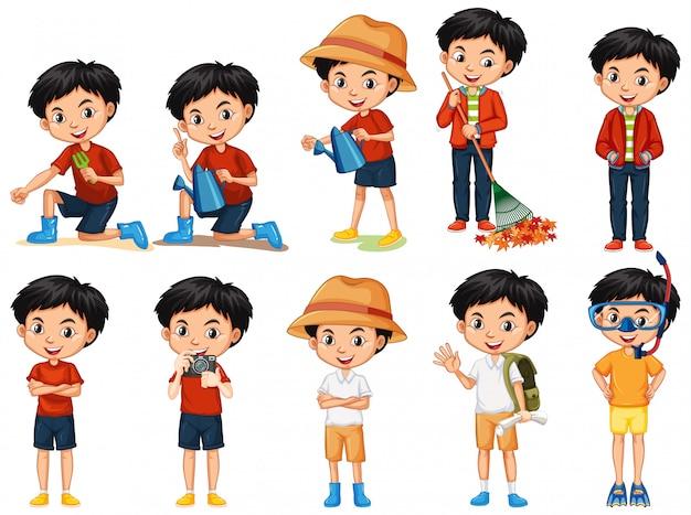 Conjunto de niño haciendo diferentes actividades en blanco vector gratuito