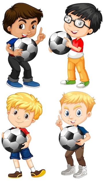 Conjunto de niño multicultural con fútbol. vector gratuito