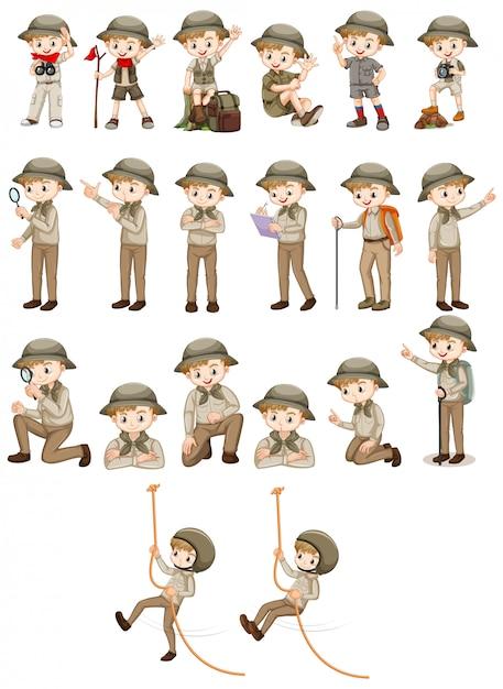 Conjunto de niño en traje de safari haciendo diferentes acciones vector gratuito