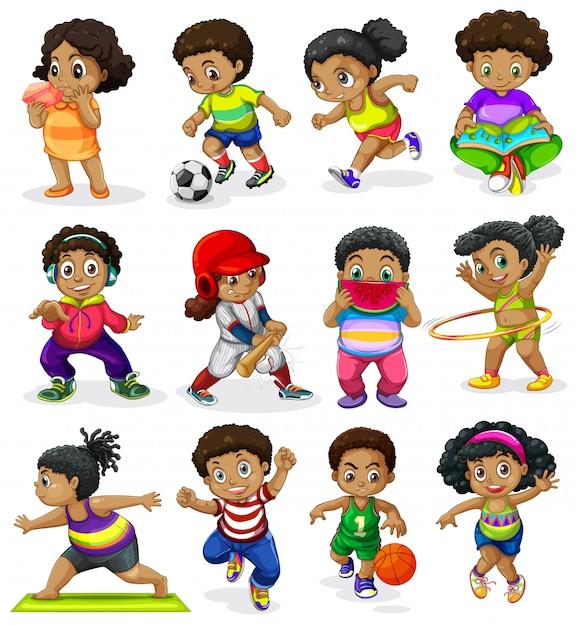 Conjunto de niños afroamericanos vector gratuito