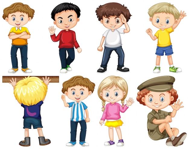 Conjunto de niños aislados en diferentes acciones. vector gratuito
