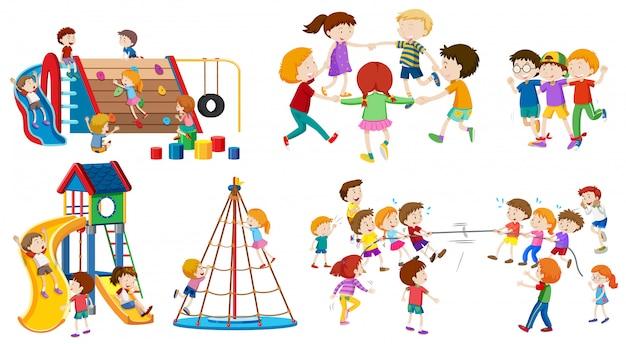 Conjunto de niños aislados en el patio vector gratuito