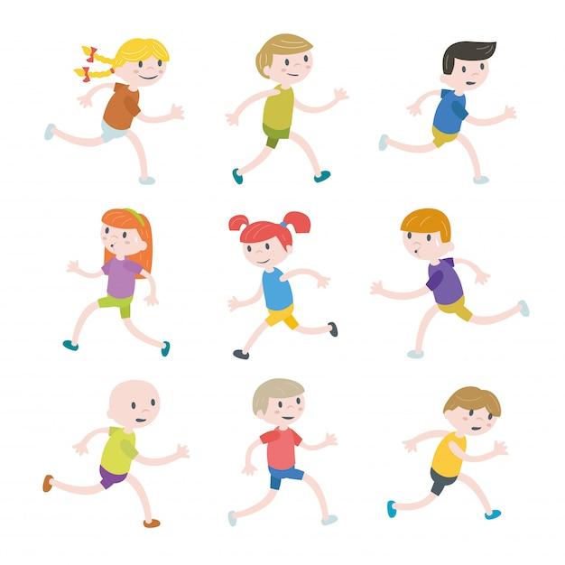 Conjunto de niños corriendo Vector Premium