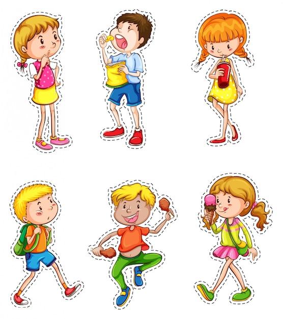 Conjunto de niños en diferentes acciones vector gratuito