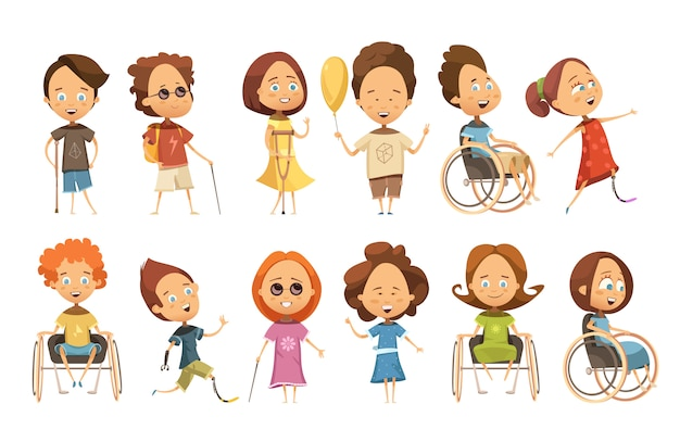 Conjunto de niños discapacitados en silla de ruedas con muletas y prótesis de miembros ciegos. vector gratuito