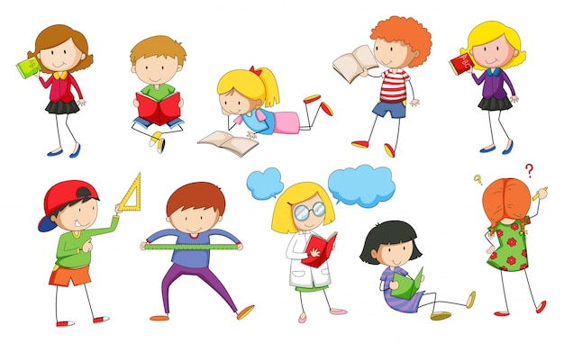 Conjunto de niños estudiando ilustración vector gratuito