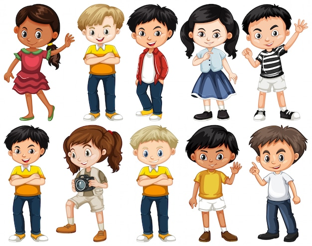 Conjunto de niños felices en diferentes acciones. vector gratuito
