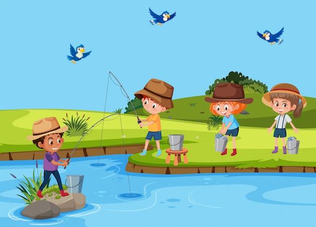 Resultado de imagen para niños pescando