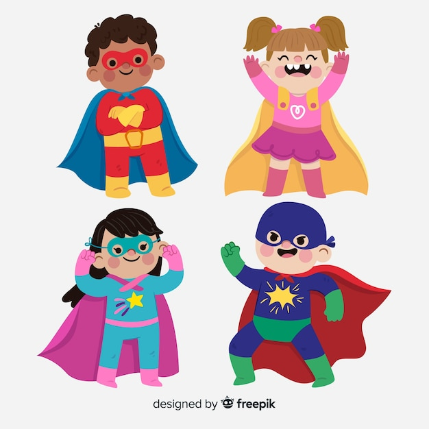 Conjunto de niños superheroes vector gratuito
