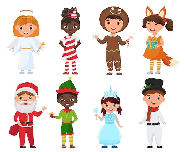 Conjunto de niños en trajes de navidad. Vector Premium