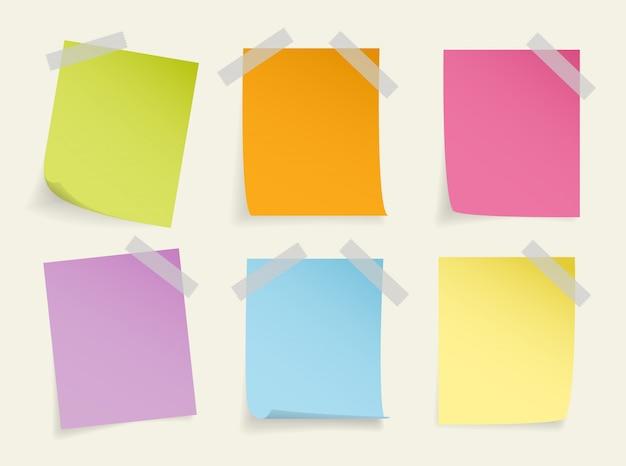 Conjunto de nota adhesiva colorida realista Vector Premium