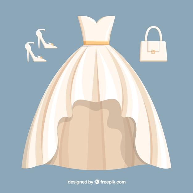 Conjunto de novia vector gratuito